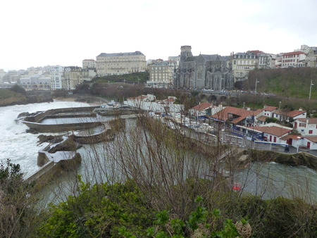 Top view of the city of Biarriz on the sea in the French Basque country on a day of storms. Stock Photo