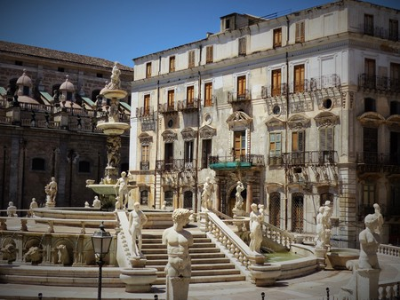 Part of the famous Piazza Pretoria fountain in Palermo with numerous Florentine marble statues. Sicily Italy