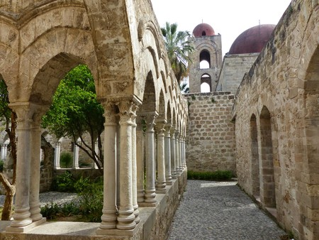 Cloister of the church of San Giovanni degli Eremiti in Palermo in Sicily, Italy
