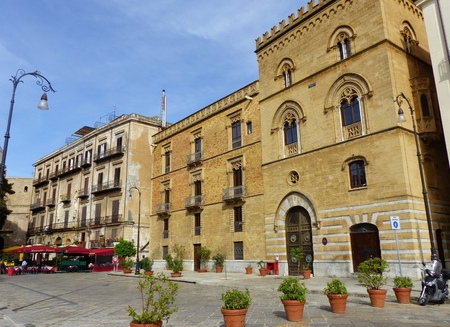 Palazzo Galetti of San Cataldo in neo-gothic style near the port of Palermo in Sicily, Italy Editorial