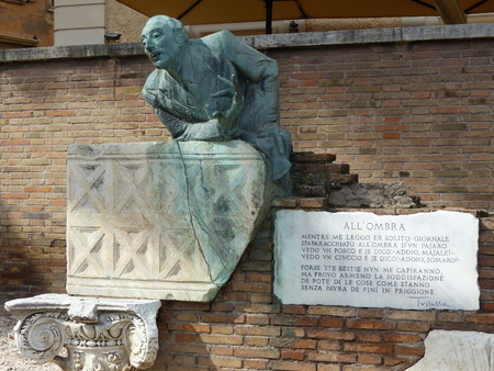 Statue of Trilussa, poet of the Roman popular language, Trastevere district, Rome, Italy.