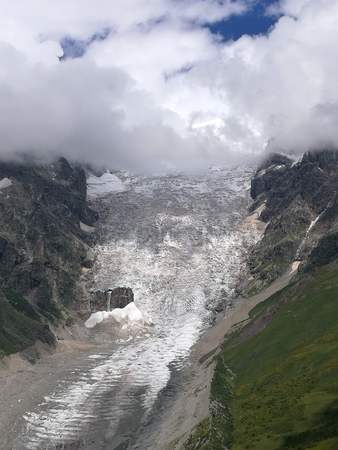 Ice corridor in the mountains of Svanetie in the Caucasus in Georgia.