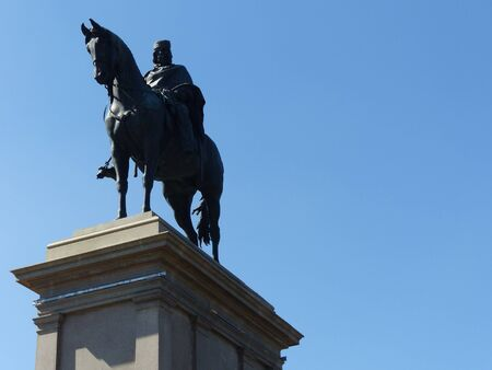 Statue of Giuseppe Garibaldi seen from below at the Gianicolo of Rome, Italy. Editorial