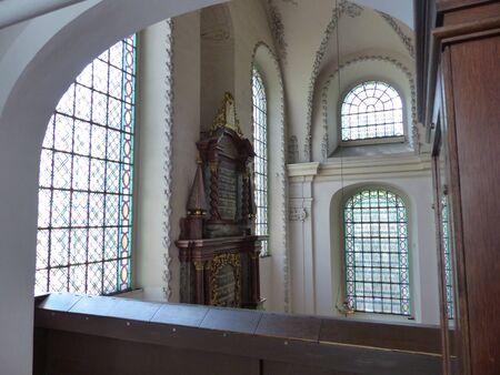 Interior of the ancient Pinkas synagogue to Prague in Czech Republic. Zdjęcie Seryjne