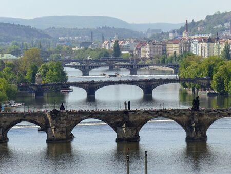 Ancient Prague bridges seen from above. Czech Republic.