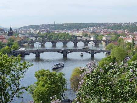 Prague bridges seen from above. Czech Republic. 版權商用圖片
