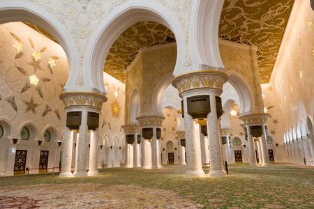 ABU DHABI, UAE - CIRCA MARCH 2014  Sheikh Zayed Grand Mosque, Abu Dhabi, in Abu Dhabi  The largest mosque in United Arab Emirates Editorial