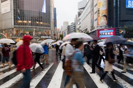 SHIBUYA, TOKYO-CIRCA JUNE 2014: Shibuya scrambled crossing is one of the busiest of the world on circa June 2014