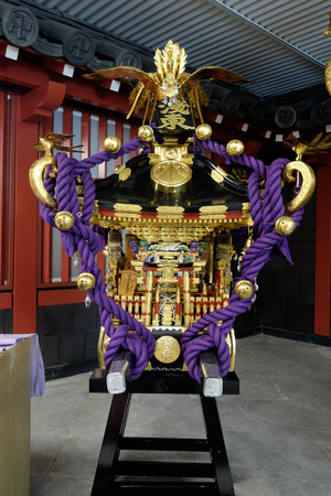 worshipped: TOKYO - CIRCA APRIL, 2014: In Japan mikoshi or portable shrine are worshipped in matsuri festivals on CIRCA April, 2014