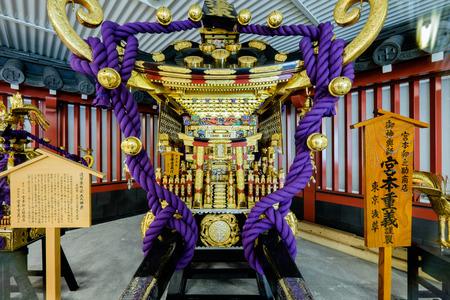TOKYO - CIRCA APRIL, 2014: In Japan mikoshi or portable shrine are worshipped in matsuri festivals on CIRCA April, 2014