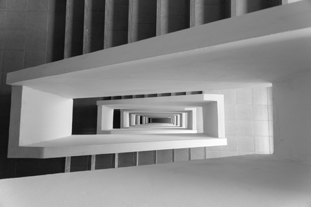 Looking down stairway rectangular spiral