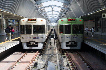 TOKYO, JAPAN-CIRCA JULY, 2014: Commutor trains are the main mode of transportation in Tokyo.