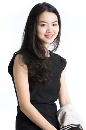 asian model: Young business woman,isolated