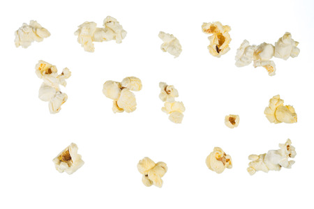 popcorn kernel: Popped popcorn kernel isolated on white background