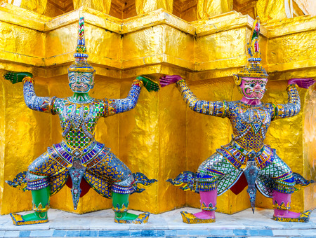 Giants from the famous emerald temple from Bangkok, Thailand photo