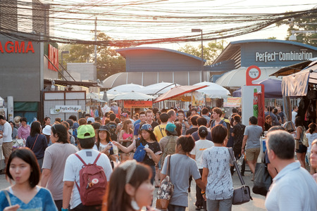 Bagkok, Thailand - Circa March 2015: People shops at Chatujak weekend market. It is the largest weekend market in Bangkok