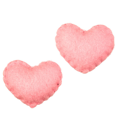plush: Isolated velvet plush heart on white background