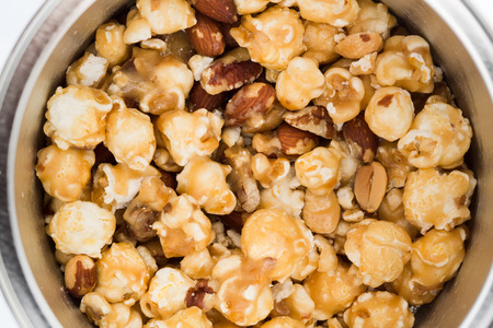 popcorn kernel: Mixed popcorn with cashew nuts and caramel