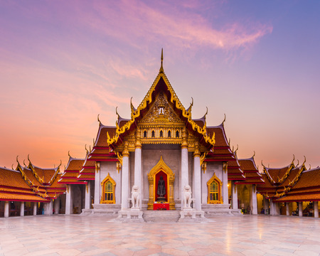 thailand art: The famous marble temple Benchamabophit from Bangkok, Thailand