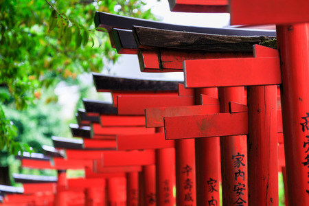 Wooden red Torii in shinto shrine, Tokyo Stock Photo