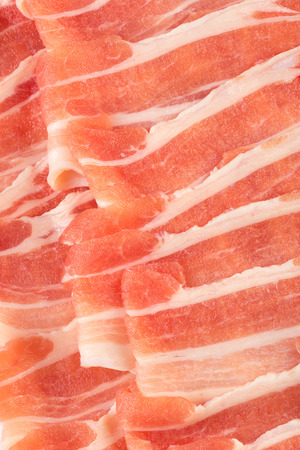 thinly: Close up shot on thinly sliced pork Stock Photo