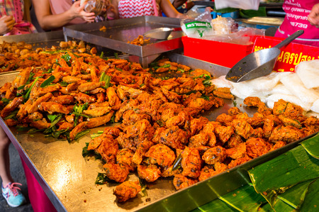 city fish market: BANGKOK, THAILAND - CIRCA JULY, 2015: Street food for sale at Chatuchak weekend market. It is one of the largest market in Asia.
