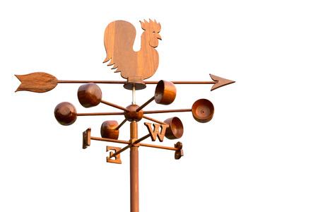 vane: Rooster wind weather vane on white background Stock Photo