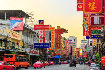 CHINATOWN, BANGKOK, THAILAND - CIRCA MAY, 2015:  Cars and shops on Yaowarat road, the main street of China town. Editorial