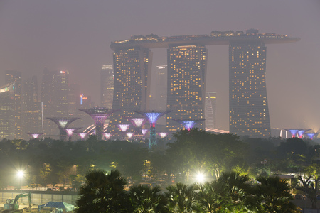 Singapore - 8th September, 2015: Haze fills the downtown area. Haze is caused by the forest fire and burning of plantation in Indonesia. Editorial