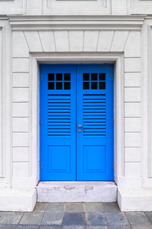 Colorful British colonial style door from Singapore