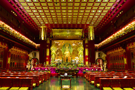 buddhist temple: Inside the Buddha Tooth Relic Temple, Singapore
