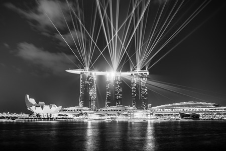 11th: singapore - September 11th, 2015: Laser and light show at Marina bay sands, Singapore.