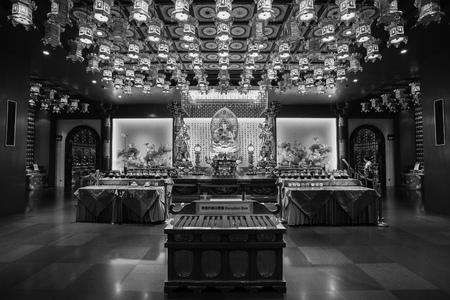 september 9th: singapore - September 9th, 2015: interior of the Buddha Tooth Relic Temple, Singapore.