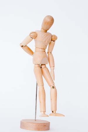 male mannequin: Wooden male mannequin standing isolated on white background
