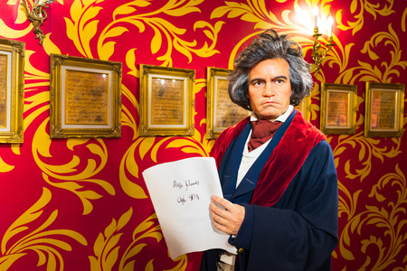 beethoven: BANGKOK, THAILAND - CIRCA August, 2015: Wax figure of the famous Beethoven from Madame Tussauds, Siam Discovery, Bangkok