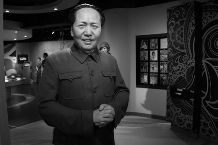 the chairman: BANGKOK, THAILAND - CIRCA August, 2015: Wax figure of the famous Chairman Mao Zedong from Madame Tussauds, Siam Discovery, Bangkok Editorial