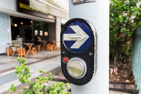 press button: Pedestrian zebra crossing press button from Singapore