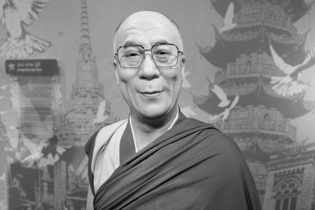 exile: BANGKOK, THAILAND - CIRCA August, 2015: Wax figure of the famous Dalai Lama from Madame Tussauds, Siam Discovery, Bangkok