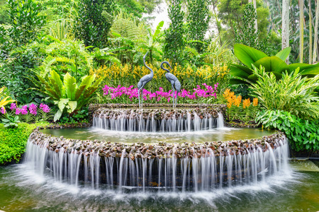 Fontein in Singapore's National Orchid Garden Stockfoto