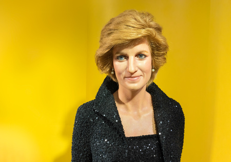 lady diana: BANGKOK, THAILAND - CIRCA August, 2015: Wax figure of the famous Princess Diana from Madame Tussauds, Siam Discovery, Bangkok
