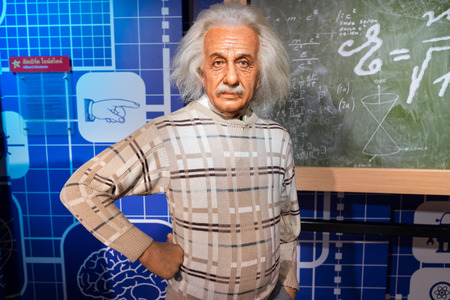 albert: BANGKOK, THAILAND - CIRCA August, 2015: Wax figure of the famous scientist, Albert Einstein from Madame Tussauds, Siam Discovery, Bangkok