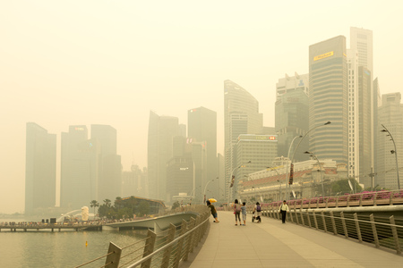 Singapore - 8th September, 2015: Haze fills the downtown area. Haze is caused by the forest fire and burning of plantation in Indonesia.