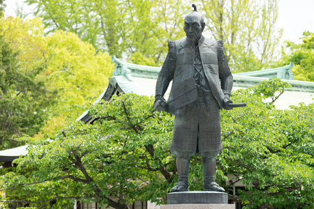 osakajo: Statue of Toyotomi  Hideyoshi, once a general warlord of Japan