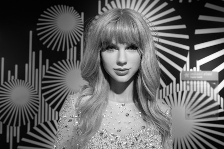 BANGKOK, THAILAND - CIRCA August, 2015: Wax figure of the famous Taylor Swift from Madame Tussauds, Siam Discovery, Bangkok