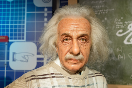 BANGKOK, THAILAND - CIRCA August, 2015: Wax figure of the famous Albert Einstein from Madame Tussauds, Siam Discovery, Bangkok