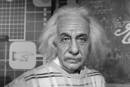 BANGKOK, THAILAND - CIRCA August, 2015: Wax figure of the famous Albert Einstein from Madame Tussauds, Siam Discovery, Bangkok Editorial