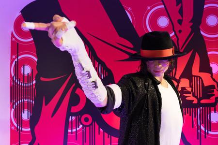 michael jackson: BANGKOK, THAILAND - CIRCA August, 2015: Wax figure of the famous Michael Jackson from Madame Tussauds, Siam Discovery, Bangkok