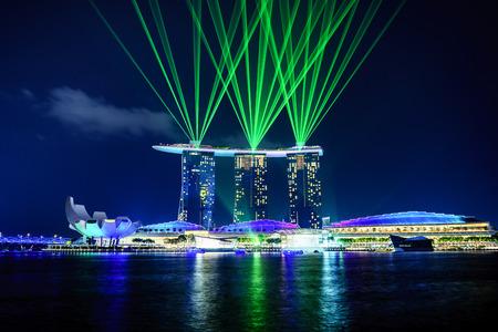 light show: singapore - September 11th, 2015: Laser and light show at Marina bay sands, Singapore.