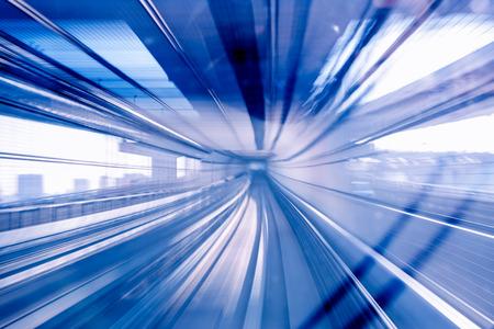 Motion blur of Japanese mono rail Stock Photo