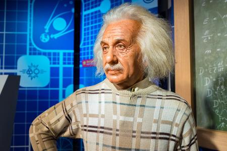 BANGKOK, Tailandia - alrededor de agosto de 2015: Figura de cera del famoso científico, Albert Einstein de Madame Tussauds, Siam Discovery, Bangkok